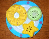 In the hoop Felt Fruit Slice Trio Design Set for Embroidery Machines