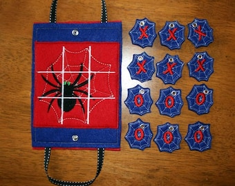 In The Hoop Tic Tac Tote Game Halo Spider Embroidery Machine Applique Design