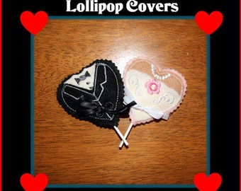 In The Hoop Bride & Groom Lollipop Cover design set for Embroidery Machines
