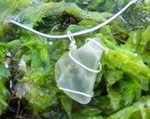 Frosted White Bottle Top Sea Glass Sterling Silver Necklace