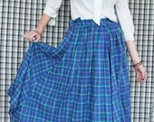 50's tartan circle ankle length skirt