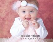 Newborn Headband- Baby Headband- Infant Headband- Light Pink and White Rosette Flower with Feather Accent on White Headband