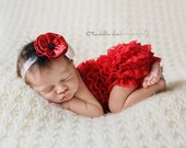 Baby Headband- Red and White Flowers with Black Beads Red Pearls and Black Feather Accent on White Headband