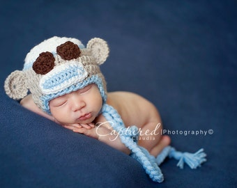 CLOSEOUT-6-12 MONTHS Light Blue Tan and White Crocheted Sock Monkey Hat