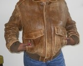 Brown Distressed Leather Aviator Jacket