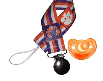 Clemson baby clip with gumdrop pacifier