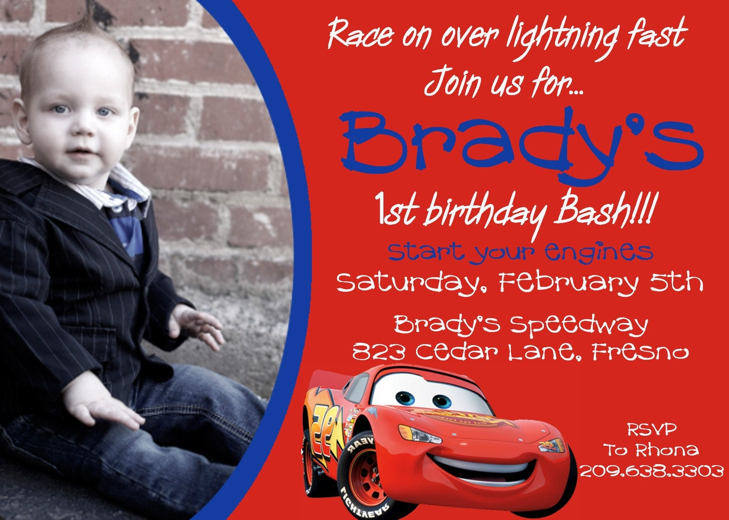 disney cars photo birthday invitation by darlingdesignsbysara