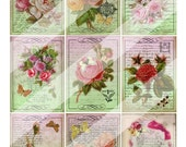 Antique Victorian Vintage Roses Butterflyes  Digital Collage Sheet  2,5 x 3,5 inch Scrapbook Decoupage  Card Paper Ephemera Magnets Jewelry Print Postcards