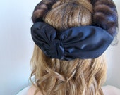 """Vintage 60's """"FUR HALO HAT"""" Fascinator  with Large Bow and Netting"""