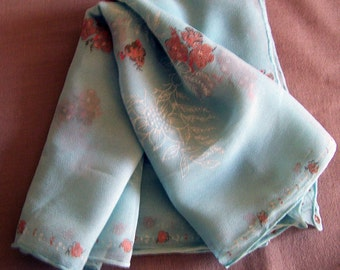 Vintage 50's Oblong Scarf Light Teal with Soft Peach Flowers and White Pattern Design