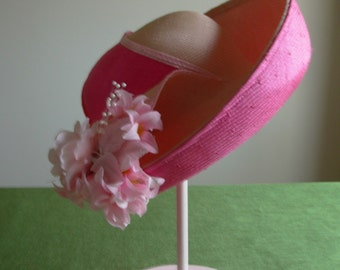 Vintage Jack McConnell Pink Straw hat 1990's with flowers