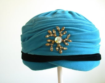 Vintage Turquoise with Black Velvet Cocktail Hat with Bling by Modern Miss