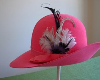 Shocking Pink Hat with Feathers by  Amitalia of Florence
