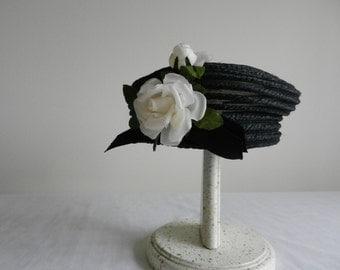 Black Straw Pillbox with White Flower Hat by Everitt