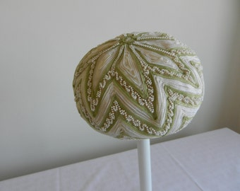 Vintage White and Green Beaded Beret Hat by Marche