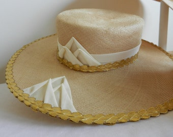 Vintage Straw Hat with Wide Brim, Cream Ribbon and Gold Trim by Raymond Hudd