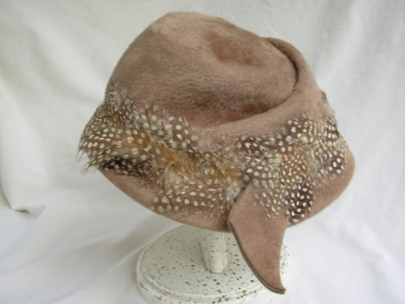 Vintage Tan Hat with Feathers from Carson Pirie Scott in Chicago