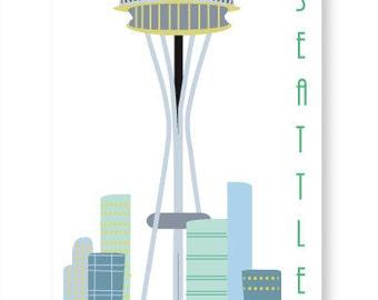 Retro Seattle Skyline