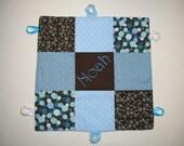 Boys Blue Brown Polka Dot Personalized Baby Security Blanket Blue Patchwork Minky Ribbon Blankie