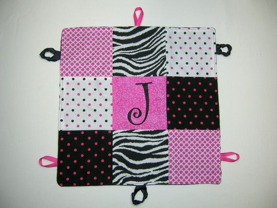 Hot Pink Zebra Personalized Baby Blanket Security Blankie Minky Lovey GIRLS
