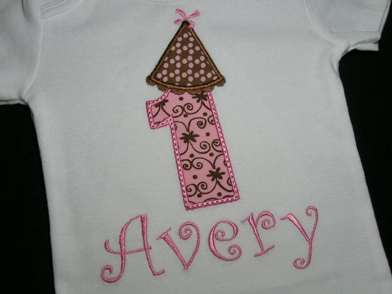GIRLS Pink Brown Dot Birthday Party Hat Personalized Name Number Initial Onesie Shirt Baby Outfit First 1st 2nd 3rd 1 2 3 Onsie