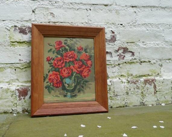 Pair of Red Roses vintage paint by numbers