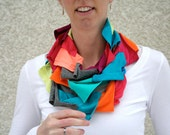 Infinity scarf in bright spring colors, multicolor,