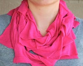 Infinity scarf in bright pink, fuschia, neon pink, t-shirt scarf, jersey scarf