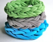 Bangles, Stackable bracelets, fabric cuff, set of three from reclaimed jersey in green, aqua and grey