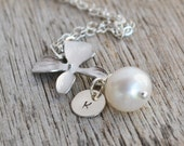 Personalized Silver Orchid Necklace, Freshwater Pearl Pendant, Bridesmaid Gift, Wedding Jewellry