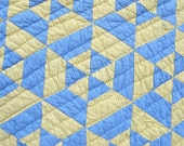 Handmade Quilt Antique Geometric Blue Yellow Cotton Patchwork Hand Quilted Full Size Vintage Quilts
