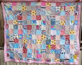 Vintage Quilt Cotton Fabric Patchwork Handmade Cottage Chic Quilts