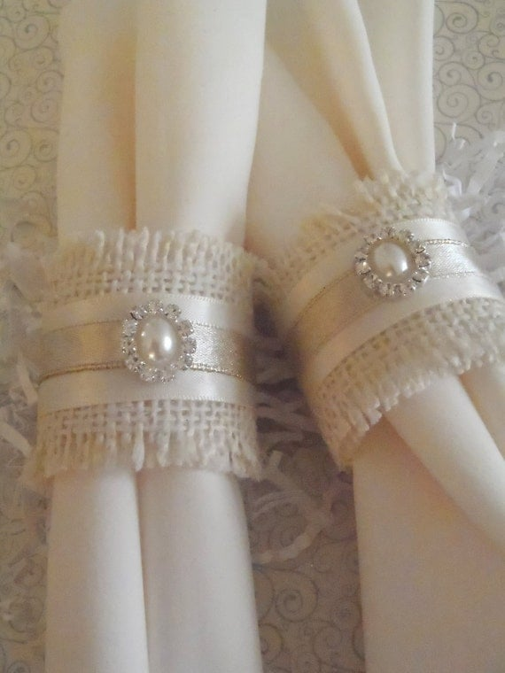 Burlap Napkin Rings for Holiday or Weddng shabby chic, woodland ...