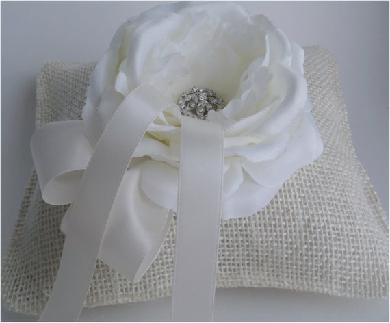 """Ivory burlap ring pillow 6x7"""" with white rose and satin ribbons"""