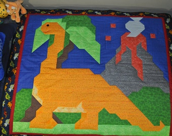Dinosaur Quilt Pattern in multiple sizes crib to twin - PDF