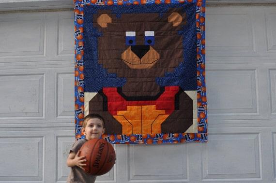 Basketball Bear Quilt Top Pattern (3 sizes)- PDF