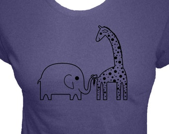Elephant and Giraffe Shirt - Ellie Elephant and Ginnie Giraffe - 3 Colors - Womens Organic Bamboo and Cotton Shirt - Gift Friendly