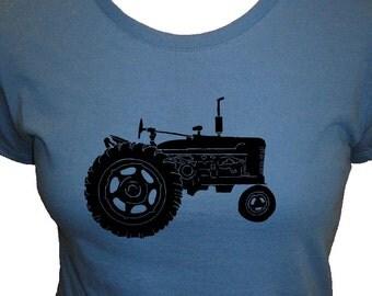 Tractor Shirt - Womens Shirt - Organic T Shirt - 3 Colors Available - Womens Organic Bamboo and Cotton T Shirt - Gift Friendly
