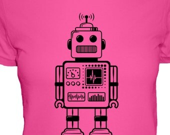 Robot Shirt - 4 Colors Available - Retro Robot Shirt - Womens Cotton T Shirt