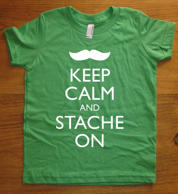 Mustache Shirt / Moustache Shirt - Keep Calm and Stache On - 7 Colors Available - Kids Tshirt Sizes 2T, 4T, 6, 8, 10, 12 - Gift Friendly