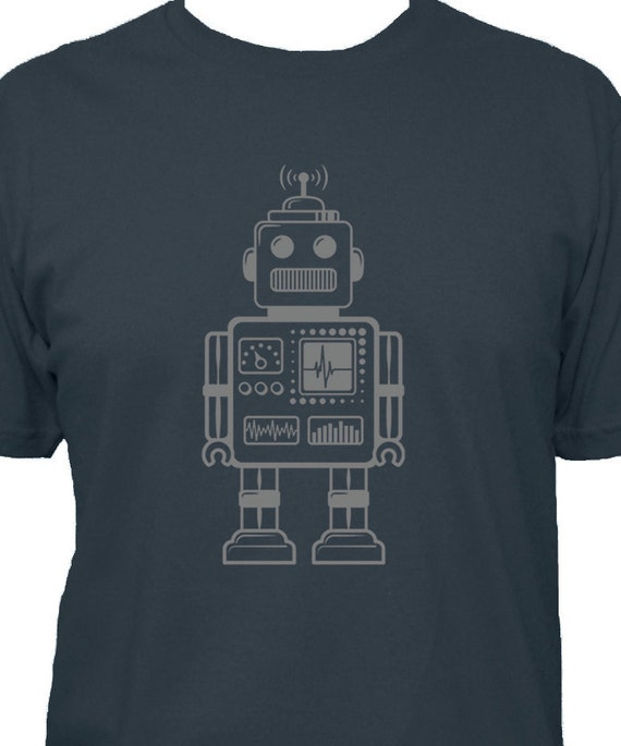 Robot Shirt - Retro Robot Mens T Shirt - 5 Colors Available - Cotton TShirt - Gift Friendly