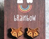 Wooden Fox Earring