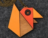 Geometric Bird Origami Necklace / Brooch