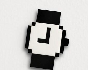 Mac Pixel Clock Icon Brooch / Necklace