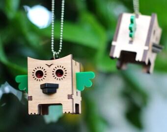 3D Cube Owl Necklace