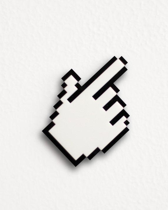 Pixel Hand Cursor Brooch / Necklace