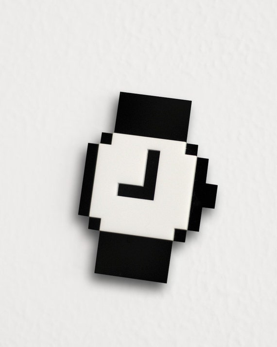 Mac Pixel Clock Icon Brooch / Necklace