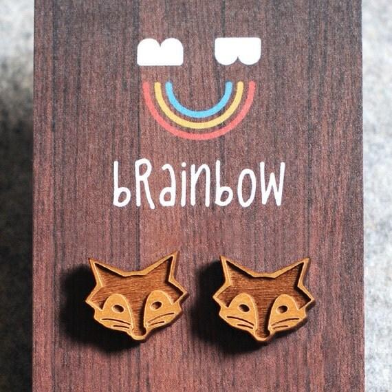 Wooden Fox Earring