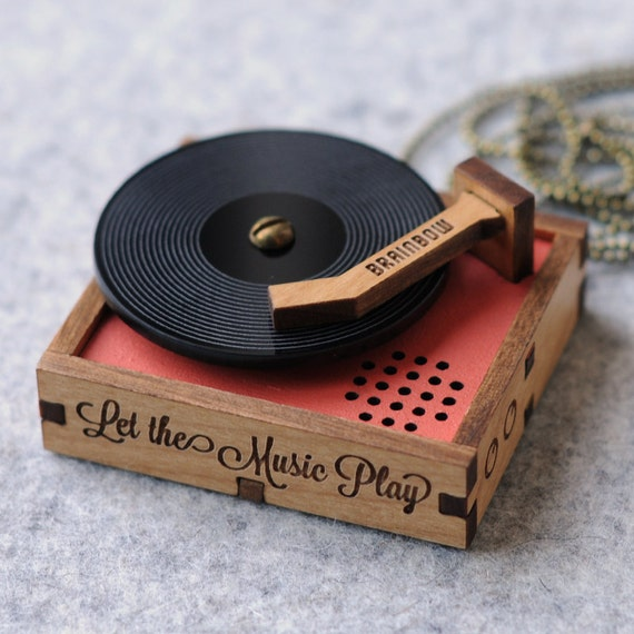 Wooden Record Player Brooch