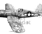Vintage plane - 'F4U Corsair' - 8 x 10 - Pen and Ink